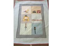 "Mamas and Papas Boys Nursery ""Made with Love"" Coverlet, Curtains, Musical Cot Mobile etc"