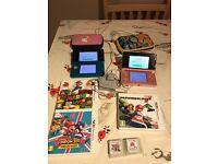 2x Nintendo 3ds bundle with 5 games, 2 cases