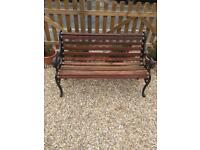 Vintage cast iron lions head garden bench hardwood slats