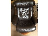 Leather recliner chair with footstool