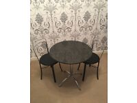 Black Bistro Marble Dining Table with 2 Chairs