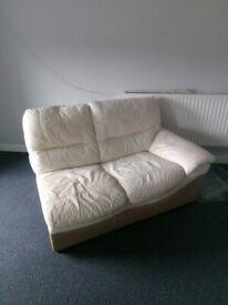 Free Cream Leather Corner Sofa