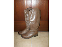 The Knee Boots Brown Leather Like New Size UK3,5/ EU36