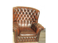 Brown leather Chesterfield (Delivery)