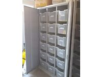 Steel Lockable Bin Cupboard complete with 18 bins for parts or stock items