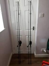 2 Sonik sks 12', 3 1/3 tc carp rods with 2 Fox eos10000 reels