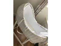 Beautiful Moses (Noah's Pod) Basket, Rocking Stand, Mattress And Matching Blanket (waffle Print).