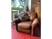 Brown Faux Leather armchair £20 - House clearance