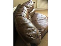 Brown leather corner 3 piece settee