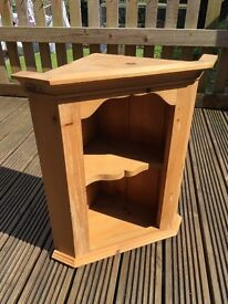 Small solid pine corner shelving unit