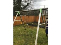 Wooden swing frame, hanging bars punch bag