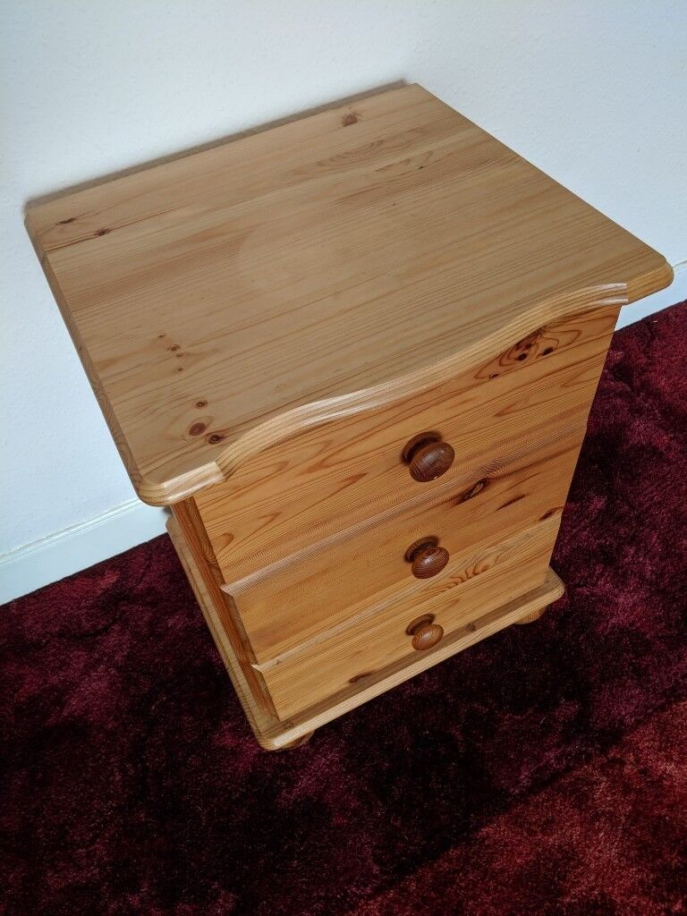 Lovely 25 Year Old Rustic Pine Bedside Cabinet With Three Drawers