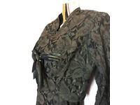 GENUINE VINTAGE 1940's OLIVE GREEN LACE & SATIN DRESS WITH BOLERO!