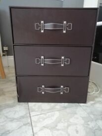 2 * 3 drawer storage units (brown faux leather)