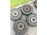 """14"""" inch steel wheels with tyres"""