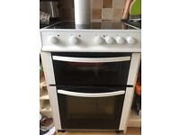 White electric four ring cooker with grill and oven