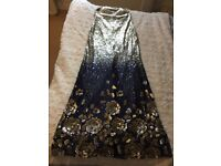 Gold and blue sequinned dress