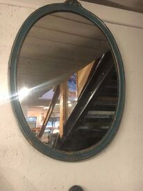Up Cycled Time Worn Finish Antique Blue Mirror