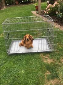 Silver dog animal cage