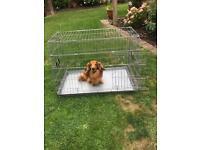 Silver dog animal cage
