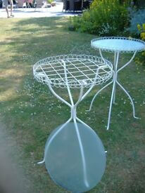 Two Metal Side Tables with Glass Tops