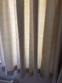 """CREAM FULLY LINED CURTAIN 94"""" wide . X 54""""long plus curtain rail and fittings"""