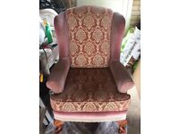 Newly Recovered Very Good Condition Wing Backed Armchair with Wooden Feet