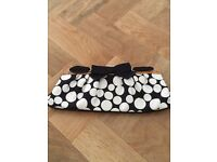 Dune Black and White Satin Spot Clutch Bag with Bow Detail (Excellent Condition)