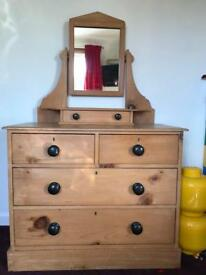 Solid Scots Pine chest of drawers with mirror dressing table
