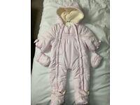 Brand New Baby Pink Snowsuit 9-12 months