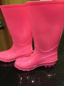 New M&S Pink Wellies Size 2