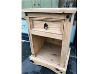 Single Mexican Pine Bedside Table