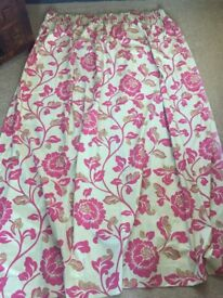 Curtains. Length 90inch by 84-90 wide. Pink and beige