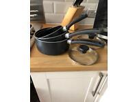 3 Tefal Saucepans, dish rack & griddle