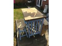Shabby chic kitchen table, bench and stools