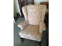 Parker Knoll wingback armchair with matching scatter cushion, in excellent condition