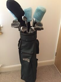 Golf clubs for sale £40 quick sale, includes 4 woods, 9 irons, putter, bag, glove, balls.