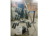 Weight plates totalling 80kg with bar and clips including weight storage tree