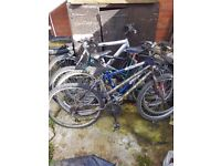 5 bikes of various conditions and sizes. Good for repairs or spares