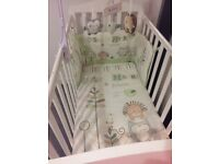Olive and Henri baby nursery bedding cot bumper, quilt and cot mobile for sale.