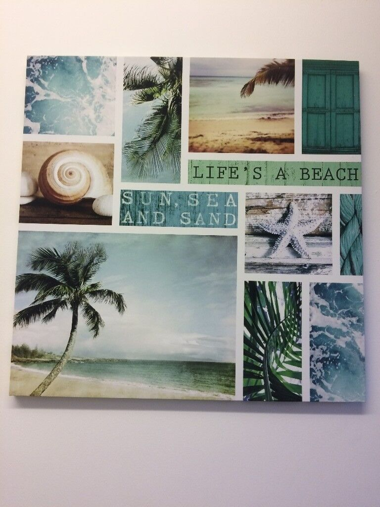 Life's a Beach Canvas Print 60W x 60H cm, £4 Collection Only Please