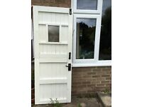 External solid wood white painted heavy stable door with single glass panel for sale