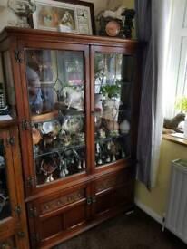 old charm carved oak display cabinet