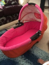 Pink and orange quinny buzz carrycot and accessories