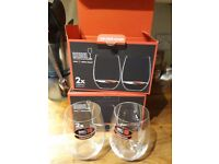 Four Riedel 'O' stemless cabernet/merlot wine glasses - brand new, never used
