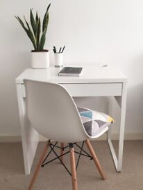 White Desk (Ikea Micke) and Modern Chair - Excellent Condition