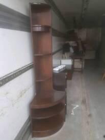 Display Cabinet - 1 Door and 2 Shelf Dark Wood Corner Display Cabinet