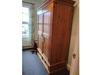 Large pine wardrobe with matching bed side table