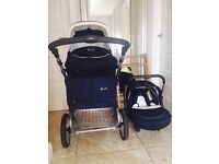 Silver Cross Pram/Moses Basket & Car Seat with Wheels and Moses Basket Stand