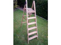 vintage pine wooden step ladders